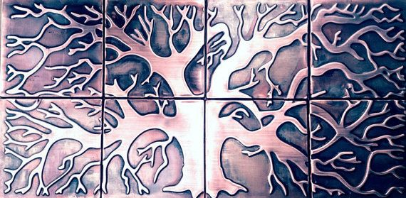 Tree of life , wall mural, made of copper, 8 tiles design, custom size available