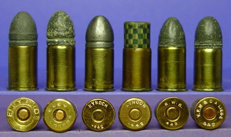 Here is an assortment of .442 revolver cartridges, manufactured in England and Europe. Developed in the late 1860s for the Tranter revolver, it was soon chambered in Webley and Enfield revolvers. This is essentially the same cartridge that was manufactured in the United States beginning about 1875 as the .44 Webley.