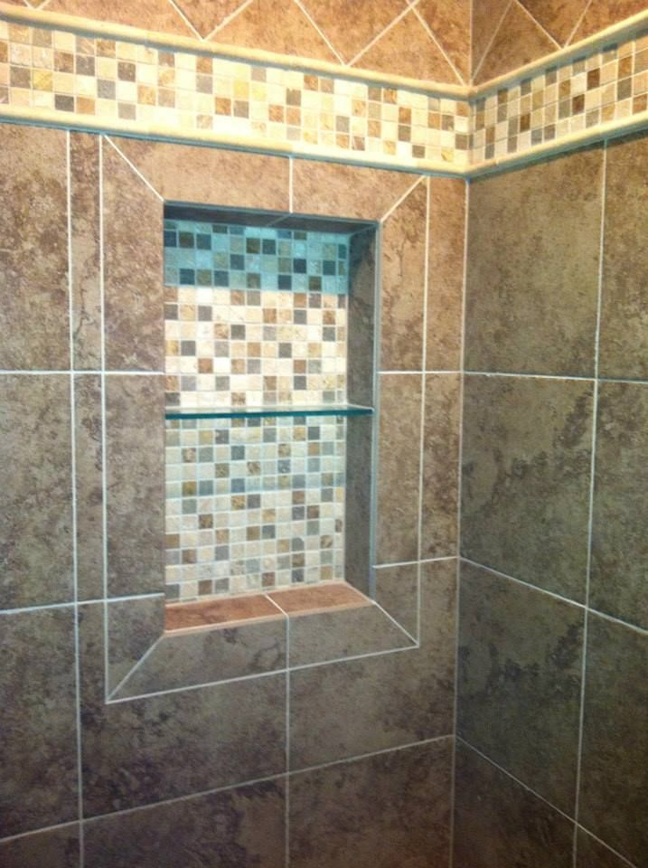 Shower Niche Shampoo Box And Master Bathroom Tile By