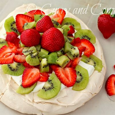 Fruit and Cream Pavlova @keyingredient #cake