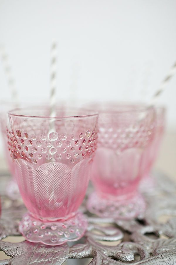 so sweet. pink glassware