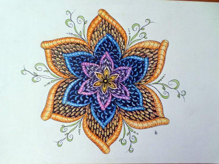 Zentangle flower. Made of Erika Székesvári. More pictures https://www.facebook.com/ercziart/