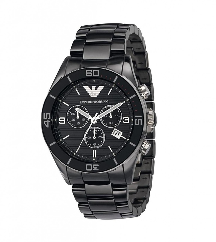 Luxury Watch Boutique - Emporio Armani Men's Ceramic Black Dial Chronograph Watch AR1421, £355.00 (http://www.luxurywatchboutique.com/emporio-armani-mens-ceramic-black-dial-chronograph-watch-ar1421/)
