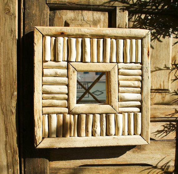 Driftwood Mirror Piano Style Mirror Handmade Mirror by MarzaShop, $45.00