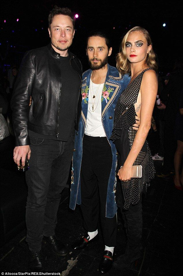 Mingling: Cara joined co-star Jared Leto - who plays The Joker - and South African entrepreneur Elon Musk at the after-party