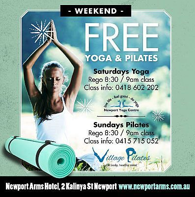 FREE Yoga (Sat) & Pilates (Sun) classes every weekend throughout Summer. Registration 8:30am, followed by 9am class on the grass in front of big screen. Then enjoy our new weekend Brekkie menu ... so tranquil in the mornings at The Arms! Classes with special thanks to Village Pilates and Newport Yoga Centre. Follow us on instagram @newportarmshotel.