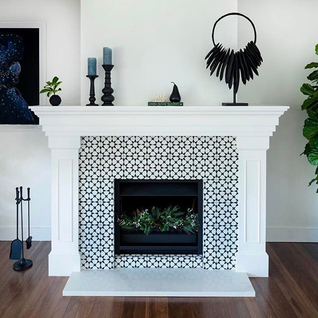 Cement Tile Shop Encaustic Cement Tile Atlas Ii Home Fireplace Fireplace Remodel Fireplace Makeover