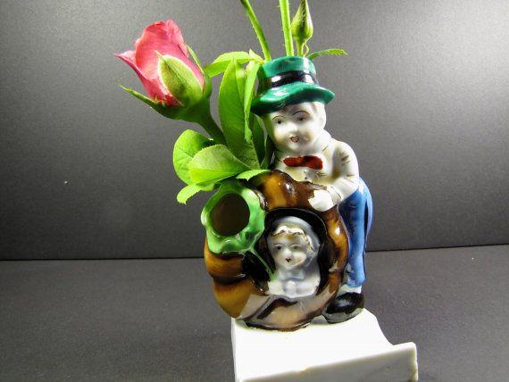 Majolica Bud Vase Victorian Toothbrush Holder by KLBVintageWares