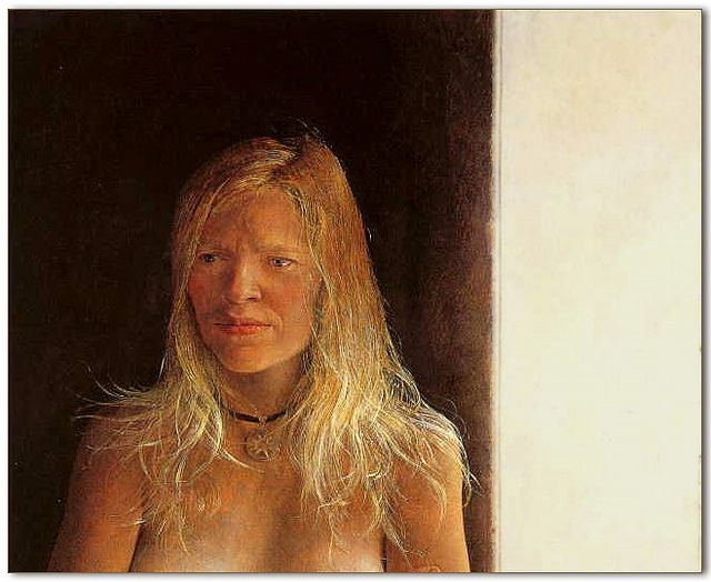 Andrew Wyeth - ''Letting Her Hair Down' 1972 tempera painting Said to be the model's, Helga Testorf, personal favorite. One of the Helga Pictures - by Andrew Wyeth [American Contemporary Realist Painter, 1917-2009]