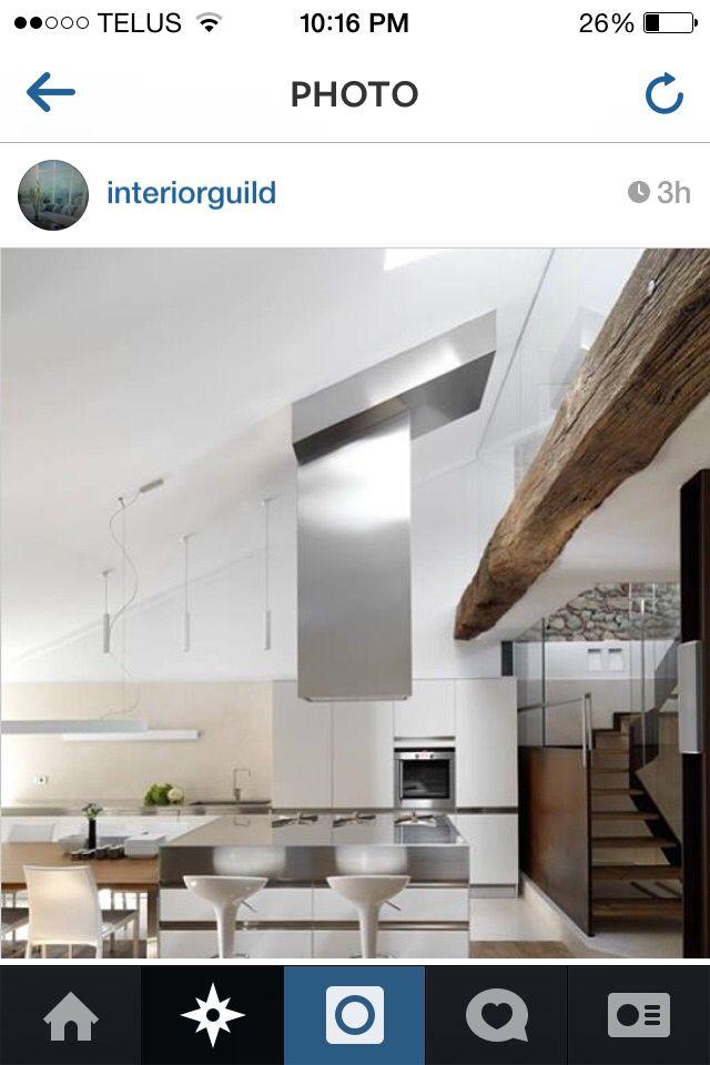 Wooden beam in kitchen/ dining