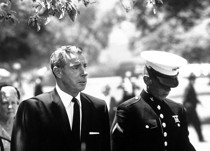 Joe Dimaggio and his son at Marilyn Monroe's Funeral | August 8, 1962 | Westwood Village Memorial Park Cemetery | Los Angeles, CA