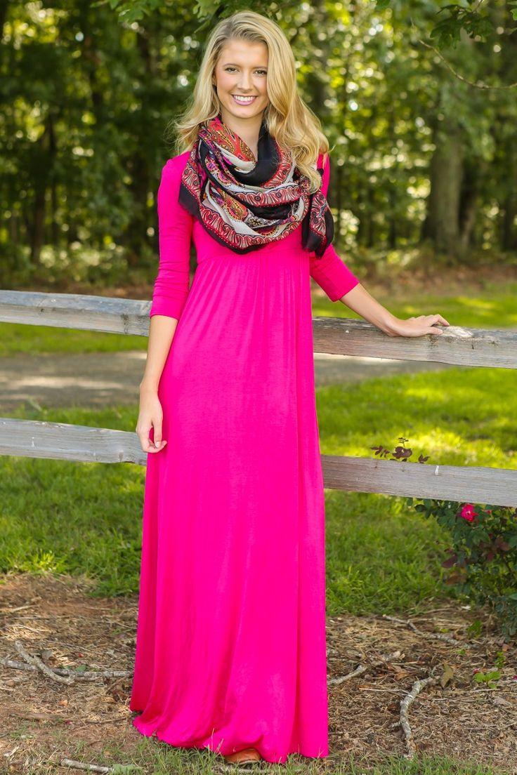 Roll Call Maxi Dress-Fuchsia | The Red Dress Boutique