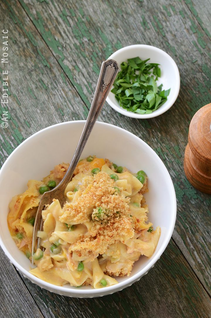Old Bay-Spiced Cheesy Tuna Noodle Casserole with Buttered Toast Topping Recipe