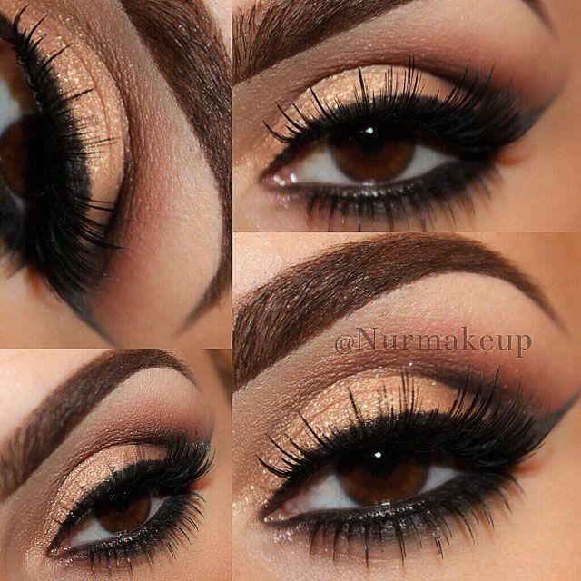Neutral smokey eyes and natural-looking false eyelashes. @Selda is wearing Elegant Lashes #600 Black (top) and #133 Black (bottom) false eyelashes.