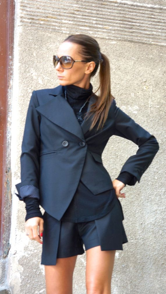 Fashion Unique Black Extravagant Blazer / Trench Coat / Asymmetric Jacket Be UNIQUE and Trendy... This Gorgeous combination of asymmetrical lines and classic forms so soft and gentle touch of ELEGANCE and BEAUTY! Gorgeous Back Part will leave you speechless... 100% Viscose Lining :) Be DIFFERENT and stand out from the crowd with this Extravagant and Provocative Garment!! Dear to WEAR Different sizes available XS,S,M,L,XL,XXL,3XL,4XL Aakasha SIZE CHART Taking your measurements ...