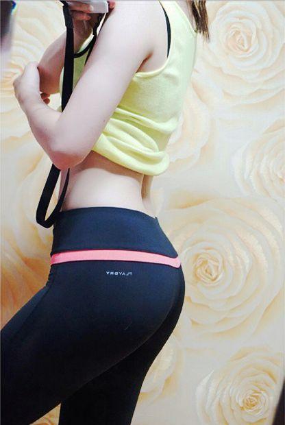 [ 옐로우 민소매 + 블랙/핑크 레깅스 ] 섹시한 뒷태 잘록한 허리! 완벽한 애플힙!