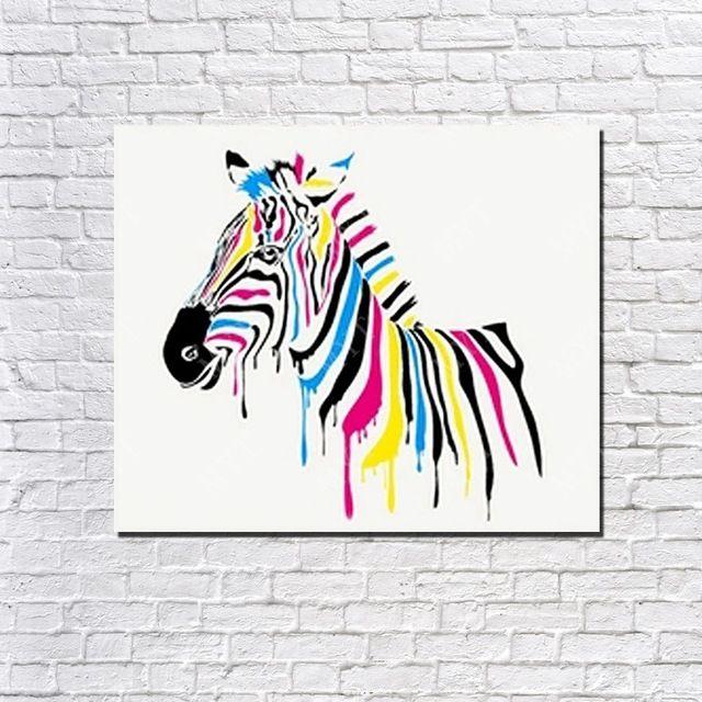 Beyaz arka plan çok renkli zebra yağlıboyalar için büyük duvar resimleri oturma odası ücretsiz kargo