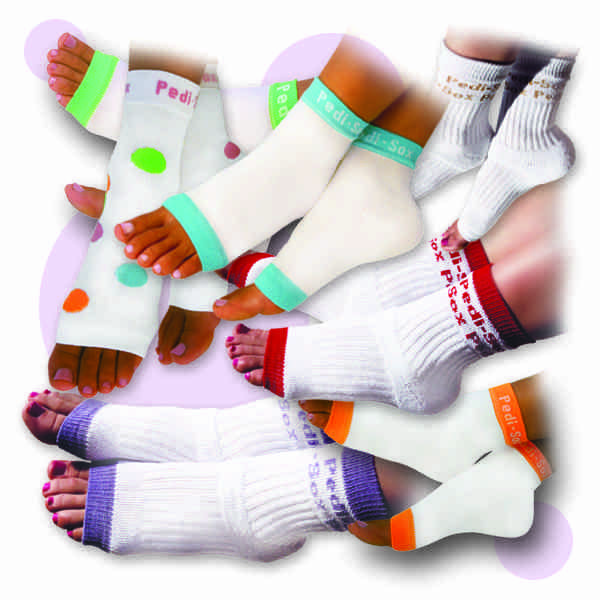 The Original Pedi-Sox®….. keep freshly pedicured feet comfy & clean !   Toenails dry flawlessly….and skin will be soft & smooth….