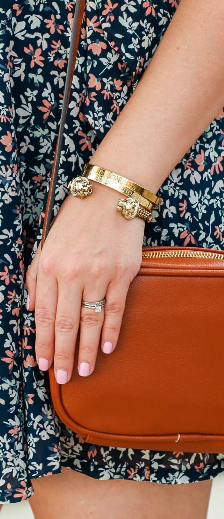 Baublebar gold lion cuff bracelet, engraved gold bracelets, Make Your Luck bracelet, floral dress, and cognac handbag styled in a affordable spring outfit idea by Florida beauty and style blogger Ashley Brooke Nicholas #MyHCLook sponsored by @haircuttery   | Hair Cuttery, blonde hair styling ideas | cute dresses, affordable summer fashion, spring style, gold heels, Sam Edelman, Baublebar, Abercrombie & Fitch, colorful stairs, preppy fashion, preppy style