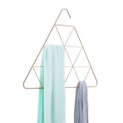 Umbra Pendant Scarf Accessory Holder Closet Organiser Triangle Copper Rose Gold