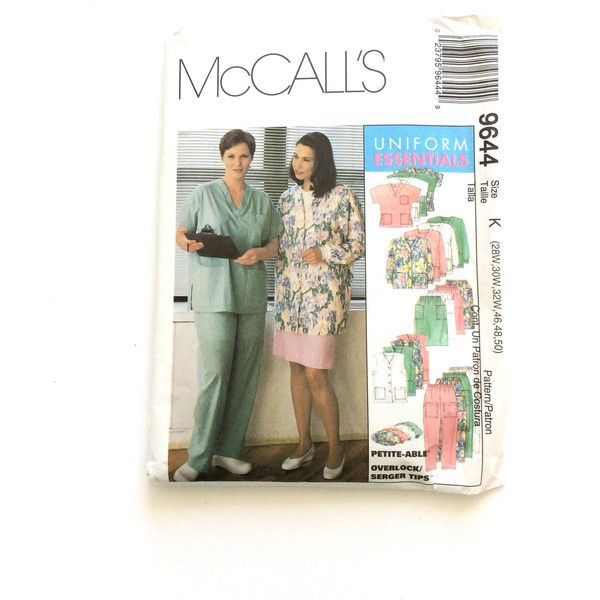 McCall's 9644 Uniform Essentials Pattern, Nurse, Doctor Scrubs,... ($8) ❤ liked on Polyvore featuring costumes, white halloween costumes, white nurse costume, nurse costume, nurse halloween costume and white costumes