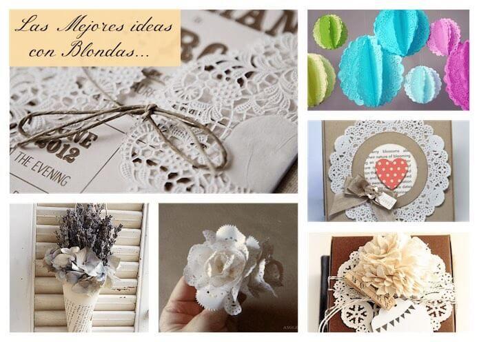 Las mejores ideas para decorar con blondas de papel.  Diy blondas para hacer cucuruchos, empaquetado, decorar vidrio, blondas para invitaciones o eventos.