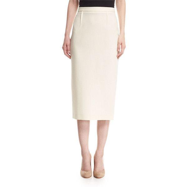 Roland Mouret Arreton Wool Crepe Pencil Skirt (4,870 CNY) ❤ liked on Polyvore featuring skirts, white, midi pencil skirts, high-waisted midi skirts, high-waist skirt, high-waisted pencil skirts and white knee length skirt