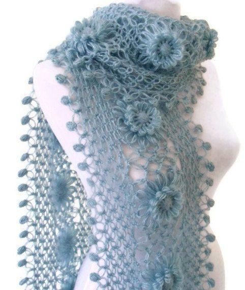 Blue crochet scarf crochet flower scarf turkish by likeknitting, $39.99