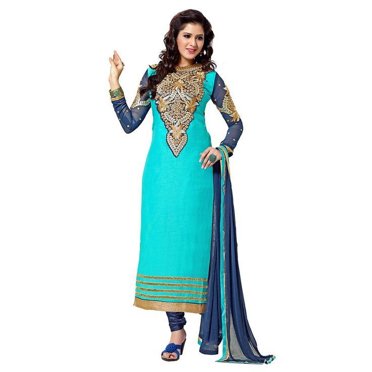 Chanderi Silk Patch Work Blue Semi Stitched Straight Suit - 7048