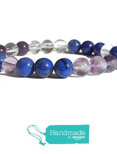 "ZENstore Third Eye Chakra Healing Bracelet Natural Gemstones size 0.3"" 8mm Sodalite Lapis Lazuli Crystal Quartz Amethyst Fluorite Intuition Openness Visdom https://www.amazon.com/dp/B071JTPKPF/ref=hnd_sw_r_pi_dp_pcrozbK2AZW7G #handmadeatamazon  #Zenstore #chakra #gemstone #jewellery #fashion"