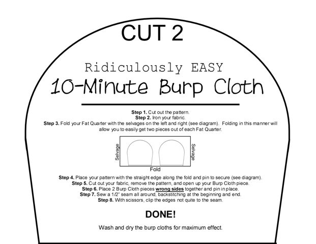 10 Minute Burp Cloth Burp Cloth Patterns Homemade Burp