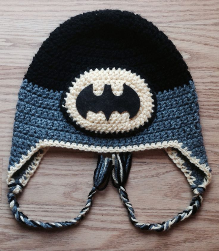 Crochet Batman hat. Basic pattern from Repeat Crafter Me. Felt Bat cut with Cricut Explore