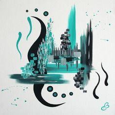 Tableau abstrait noir et turquoise spleen acrylique for Tableau turquoise et gris