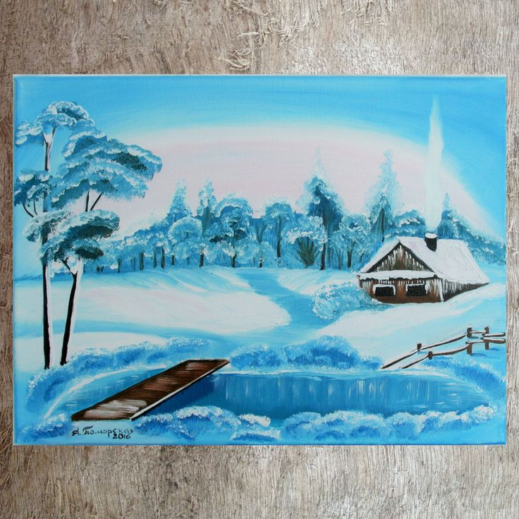 """Winter Magic. Original Oil Panting on Canvas. 12"""" x 16"""". 30 x 40 cm.  Unframed. MADE TO ORDER. CAD 75. Are you ready for holiday season? What about gifts for everyone in your list? This small-sized yet lovely painting was created with Christmas gifting in mind!  It will make a great gift for your family, friends and colleagues."""