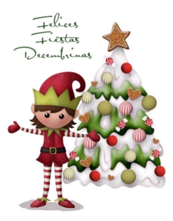 Felices fiestas decembrinas duende con rbol de navidad - Postal navidena infantil ...