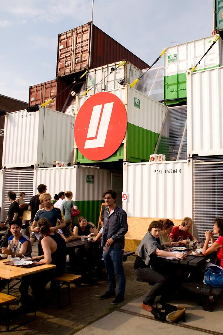 Temporary shipping container city, by O+A, Amsterdam. The complex will host the 20th anniversary of the Over Het IJ Festival, dedicated to young and experienced theatre-makers.