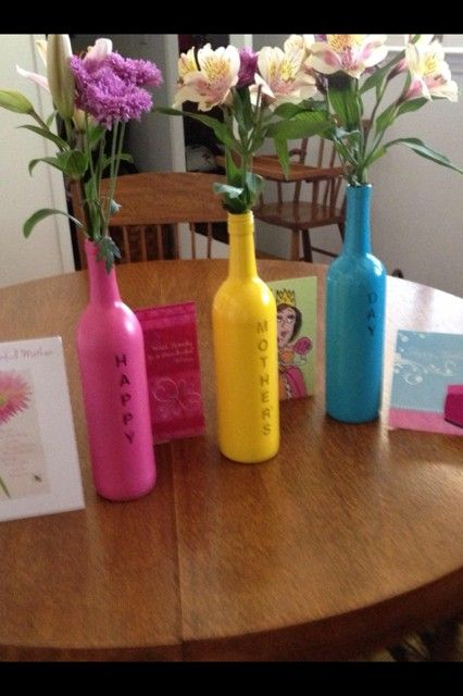 mothers day place vinyl letters on wine bottle spray paint remove letters