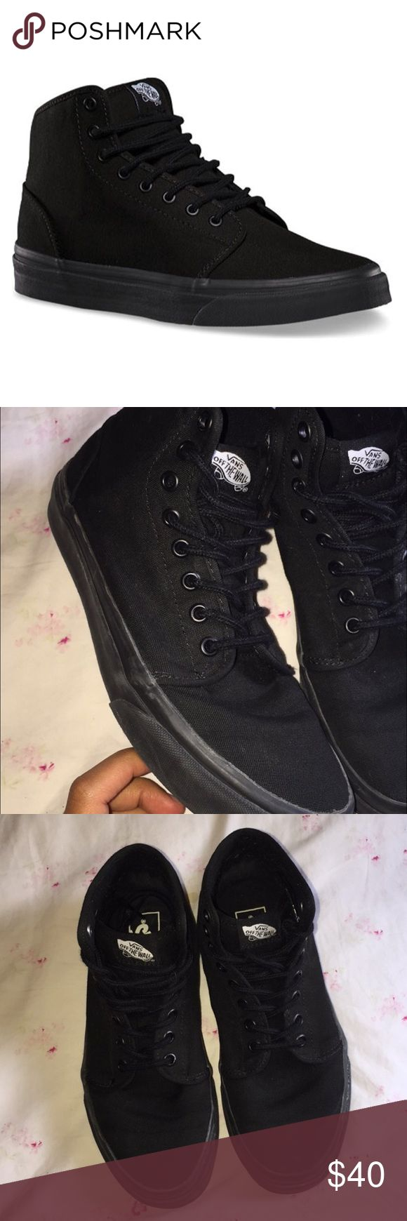 All black high top vans Only worn once, bought new laces for them. Will take offers Vans Shoes