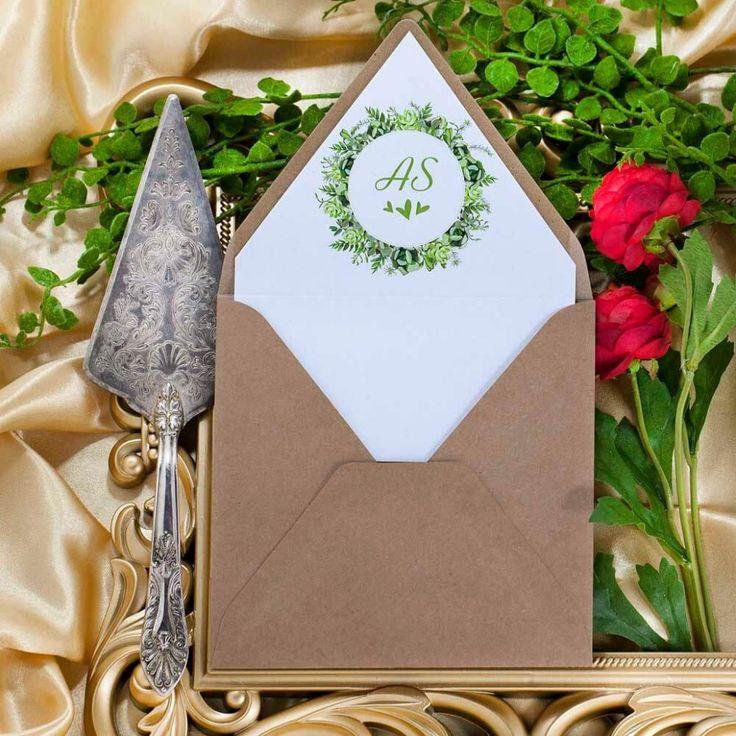 oryginalne zaproszenie ślubne zielony wianek