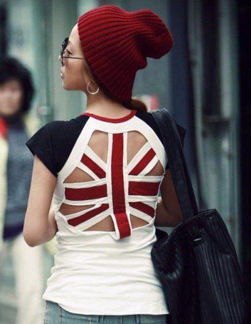 5pcs/lot Women Fashion Cotton union jack T shirt  Summer Short sleeve British/UK flag back hollow T- shirt Free Shipping 199 $39.60