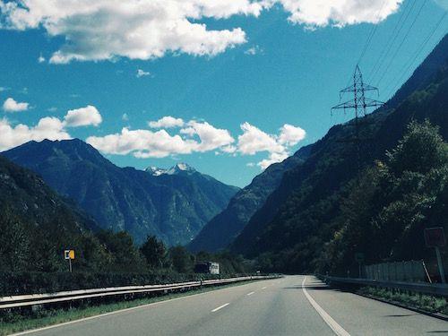 Highway through the Swiss Alps