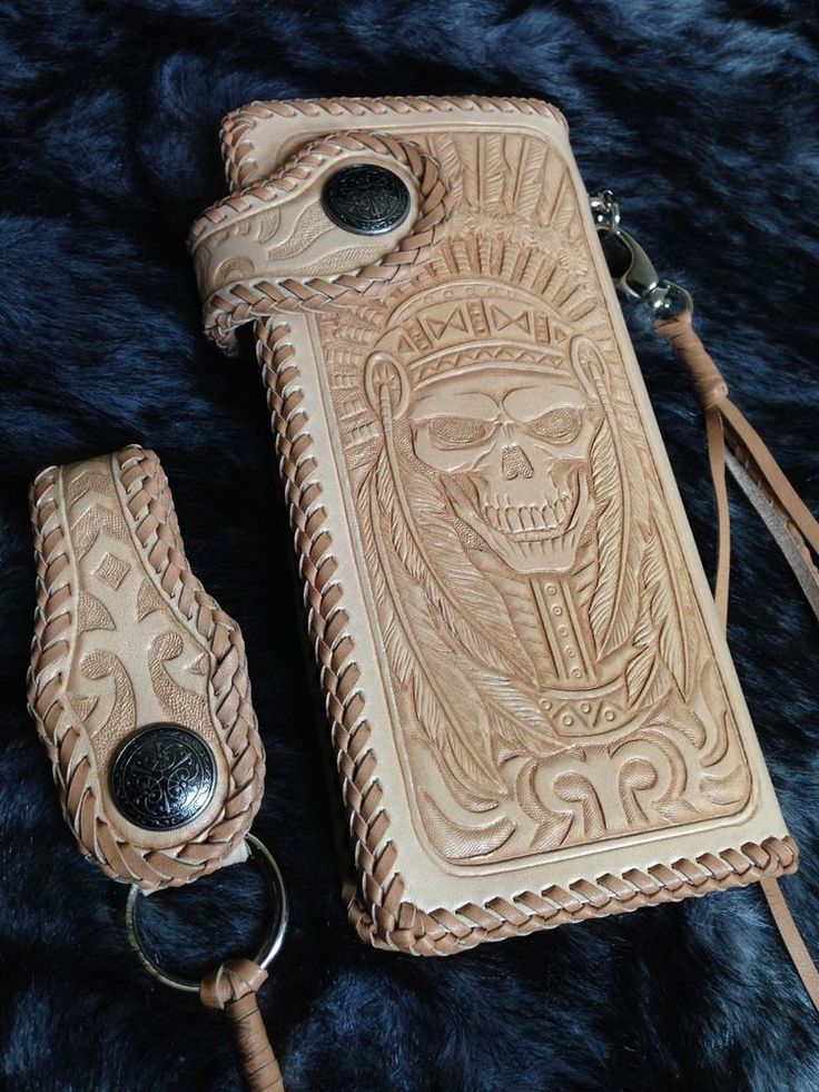 indian Skull Rider biker Long wallet Brown genuine leather handmade motorcycle