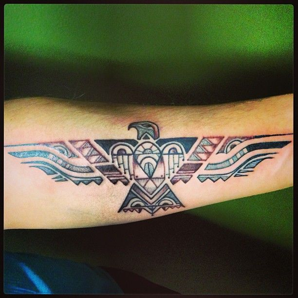 Native American phoenix tattoo. To go with my original Phoenix feather.