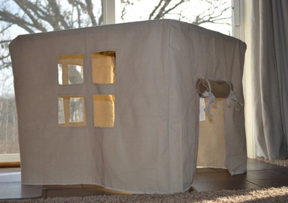 Card table fort. Card board table house, child's toy, playhouse,