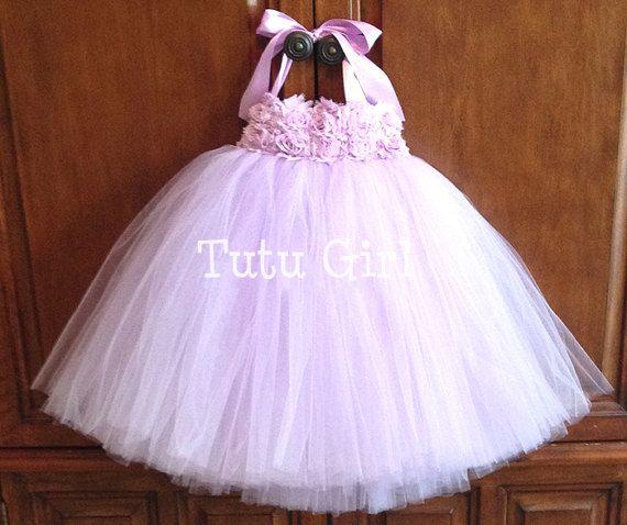 Tutu vestito ragazza di fiore della lavanda