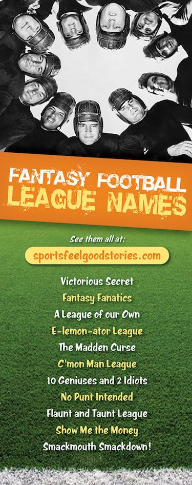 Get your Fantasy Football League Name from the Cranky Commissioner — dozens of options. And, hundreds of options for fantasy football team names.