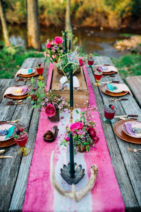 pink tie-dye tablecloth boho table setting