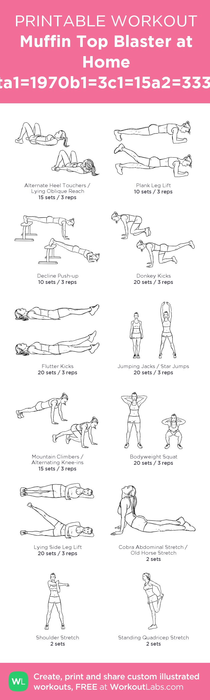 My personal ABS workout! Muffin Top Blaster at Home Workouta1=1970b1=3c1=15a2=3338b2=3c2 – my custom workout created at WorkoutLabs.com • Click through to download as printable PDF! #customworkout