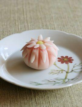 Wagashi on NakaKen'ichi-Umesara (Cosmos) dish