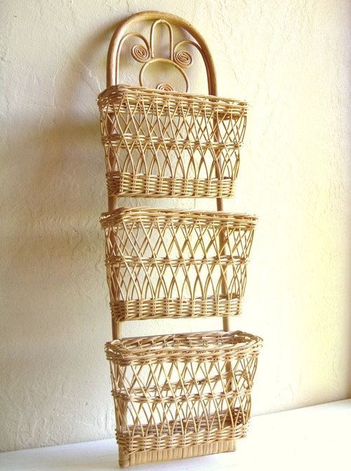 Natural Wicker Rattan Wall Hanging Pockets Organizer by @ShabbyNChic | classic…
